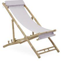 Halong kerti fotel, törtfehér, natúr bambusz láb