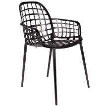 Albert kerti szék, fekete műanyag