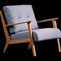 Arona fotel, világosszürke szövet/tölgy színű láb