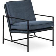 Steel fotel, sötétkék bársony