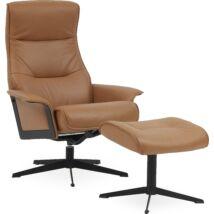 Luxor L fotel + lábtartó, barna bőr