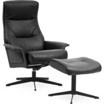 Luxor L fotel + lábtartó, fekete bőr
