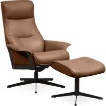 Luxor M fotel + lábtartó, barna bőr