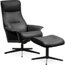 Luxor M fotel + lábtartó, fekete bőr