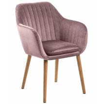 Emilia karfás design szék, rózsaszín bársony, olajozott tölgy láb