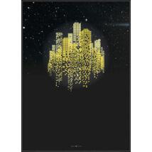 Yellow Sky City kép, fekete keret, 70x100cm