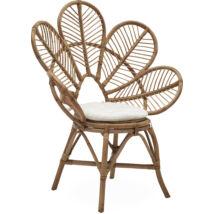 Avola kerti fotel, törtfehér, natúr rattan váz
