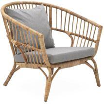 Pomo kerti fotel, szürke, világos rattan