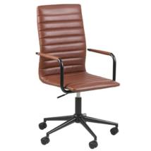 Winslow irodai szék karfás, barna textilbőr