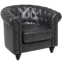 Charlietown fotel, fekete textilbőr