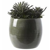 Ciro kaspó, sötétzöld kerámia, D20 cm