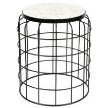 Trad lerakóasztal, terrazzo, fekete fém váz