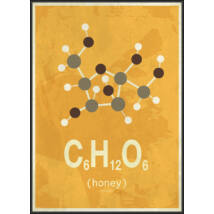 Molekula-méz kép, fekete kerettel, 50x70 cm