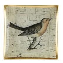 Bird dekorációs tál, multicolor/arany