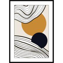 Circles and Rings kép, fekete kerettel, 70x100 cm