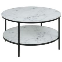 Alisma dohányzóasztal kerek, fehér márvány mintás printelt üveglap, fekete láb