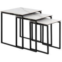 Katrine lerakóasztal 3-as szett, fehér kerámia, fekete fém láb
