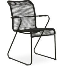 Branco kerti szék, fekete, fekete fém láb