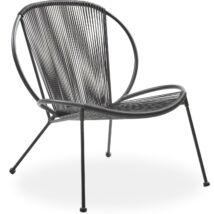 Milana kerti fotel, fekete, fekete fém láb