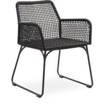 Atlana kerti szék, fekete, fekete fém láb