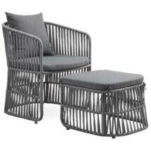 Mione kerti fotel, szürke, szürke fém láb