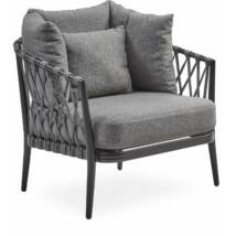 Andria kerti fotel, szürke párna, fekete aluminium váz