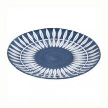Skagen levélmintás tányér, kék kerámia