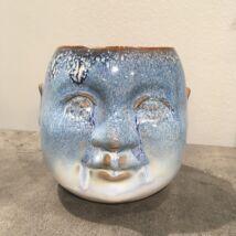 Hindu fej kaspó, kék kerámia