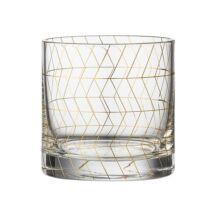 Arany mintás pohár, átlátszó/arany üveg