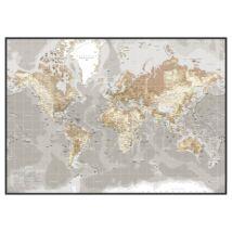 Mágneses világtérkép, Szürke 120x84 cm