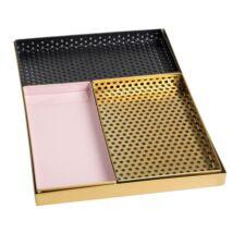 Fém tálcák, Szürke/arany/fekete/Rózsaszín fém