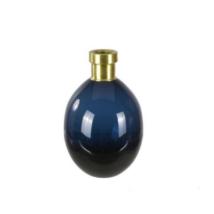 Váza sötétkék/sárgaréz, üveg