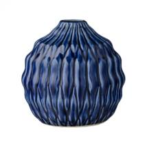 Sötétkék texturált váza, Sötétkék kerámia