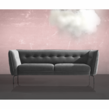 Asolo 3 személyes kanapé Ezüstszürke bársony