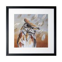 Bagoly levelekkel kép, 40x40 cm