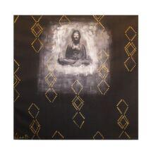 Buddha 5 Line B kép, Fekete 100x100 cm