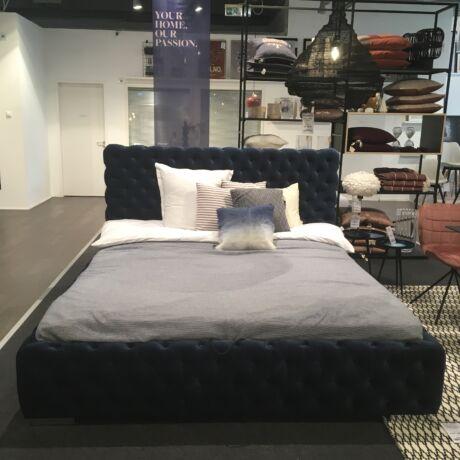 Havanna ágy, sötétkék, ágyneműtartóval, matraccal 180 x 200 cm