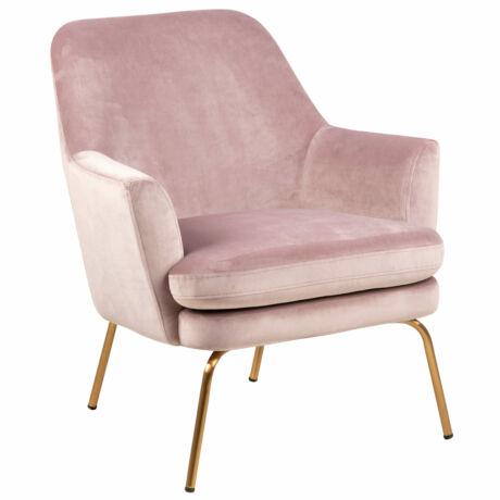 Safford fotel rózsaszín bársony, sárgaréz láb