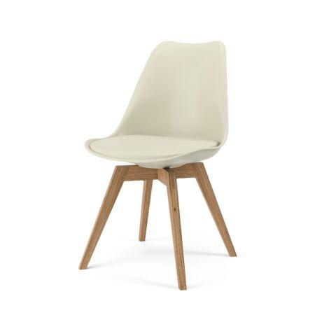 Gina szék, melegszürke textilbőr/műanyag, tölgy láb