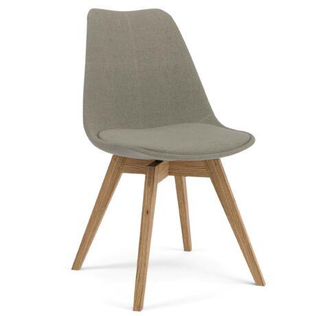 Gina szék, világosszürke szövet, tölgy láb