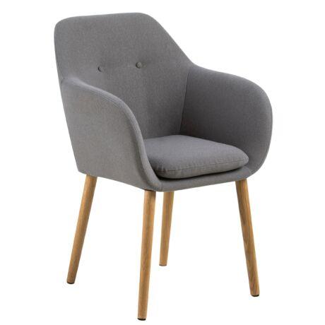 Emilia karfás szék, világosszürke szövet