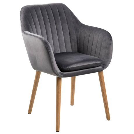 Emilia karfás szék, sötétszürke bársony