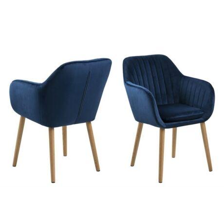Emilia karfás szék, sötétkék bársony