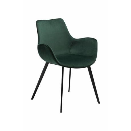 Hype karfás szék, sötétzöld bársony