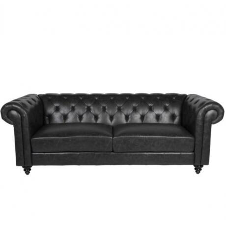 Charlietown 3 személyes kanapé Fekete textilbőr