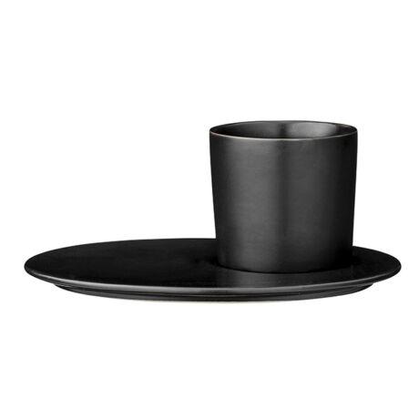 Gitte tányér és csésze szett, fekete porcelán