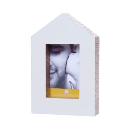 Fényképkeret ház alakú, fehér, 17x5x25,5cm