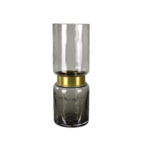 Váza szürke/sárgaréz, üveg