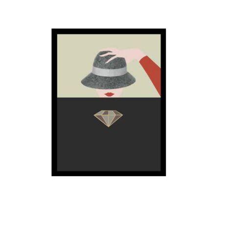 Kalapos lány gyémánttal kép,  50x70 cm