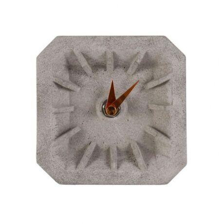 Asztali óra  cement sárgaréz mutatóval, beton/vörösréz